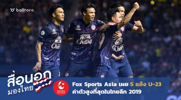 สื่อนอกมองไทย : Fox Sport Asia เผย 5 แข้งU23 มูลค่าสูงสุดในไทยลีก 2019