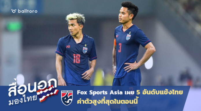 สื่อนอกมองไทย : Fox Sports Asia เผย 5 อันดับแข้งไทยค่าตัวสูงสุดในตอนนี้