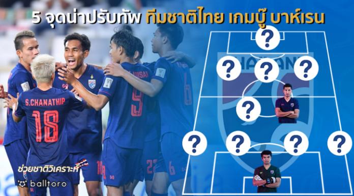ช่วยชาติวิเคราะห์ : 5 จุดน่าปรับทัพ ทีมชาติไทย ก่อนดวล บาห์เรน