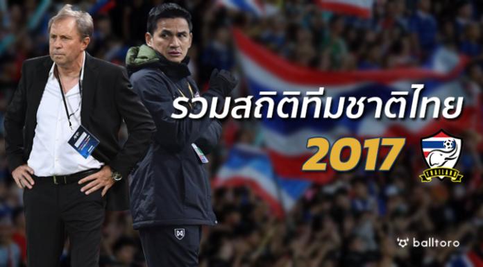 ครบทุกรสชาติ!! รวมสถิติ ทีมชาติไทย ตลอดปี 2017