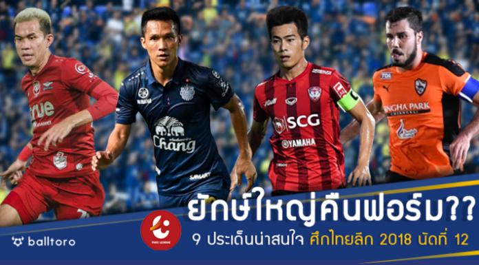 ยักษ์ใหญ่คืนฟอร์มไหม?? 9 ประเด็นน่าติดตามศึกไทยลีก 2018 นัดที่ 12